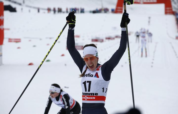 Virginia De Martin Topranin during the ladies'  FIS Tour de ski cross-country skiing 10km mass start classic race on the lago di Tesero track in Val di Fiemme January 9, 2016.